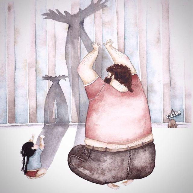 「パパと娘の日常」イラスト