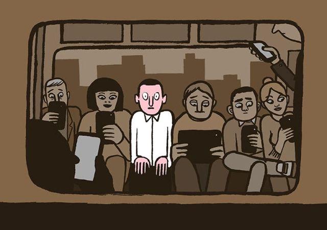社会風刺のイラスト 電車スマホ